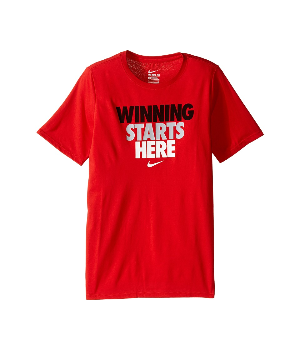 Nike Kids - Winning Starts Tee (Little Kids/Big Kids) (University Red) Boy's T Shirt