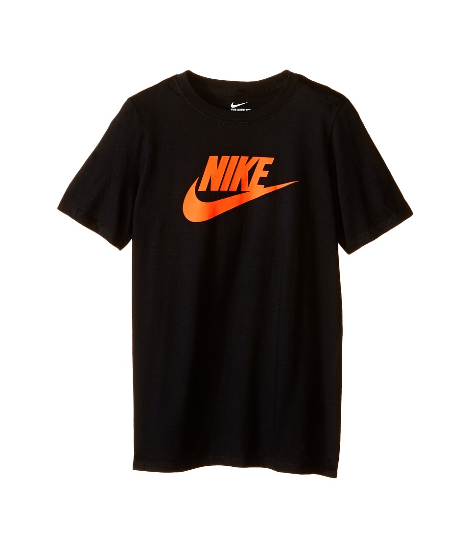 Nike Kids - Futura Icon Tee (Little Kids/Big Kids) (Black/Total Crimson) Boy's Short Sleeve Pullover