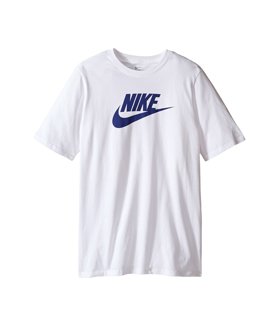 Nike Kids - Futura Icon Tee (Little Kids/Big Kids) (White/Deep Royal Blue) Boy's Short Sleeve Pullover