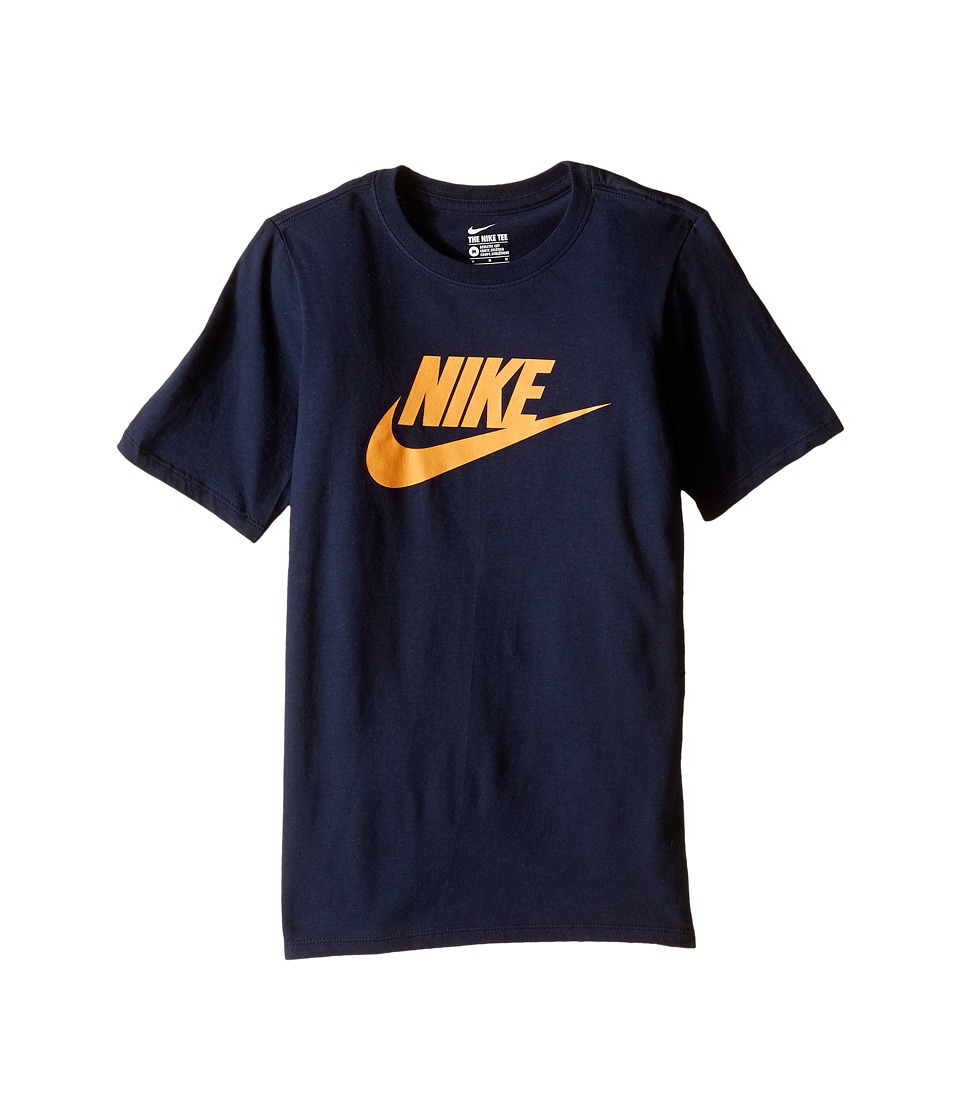 Nike Kids - Futura Icon Tee (Little Kids/Big Kids) (Obsidian/Vivid Orange) Boy's Short Sleeve Pullover
