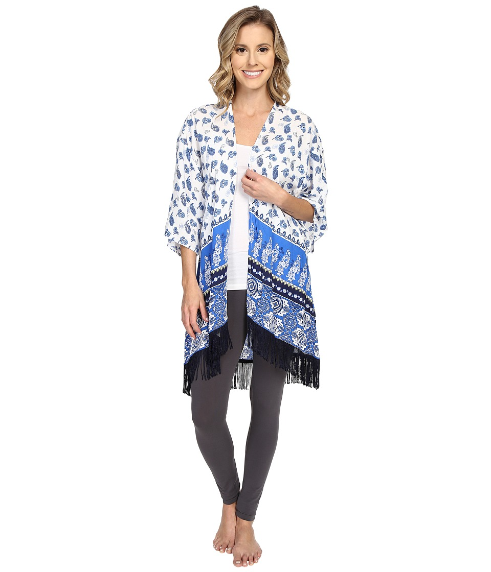 P.J. Salvage - Coastal Blue Print Kimono (Ivory) Women's Blouse