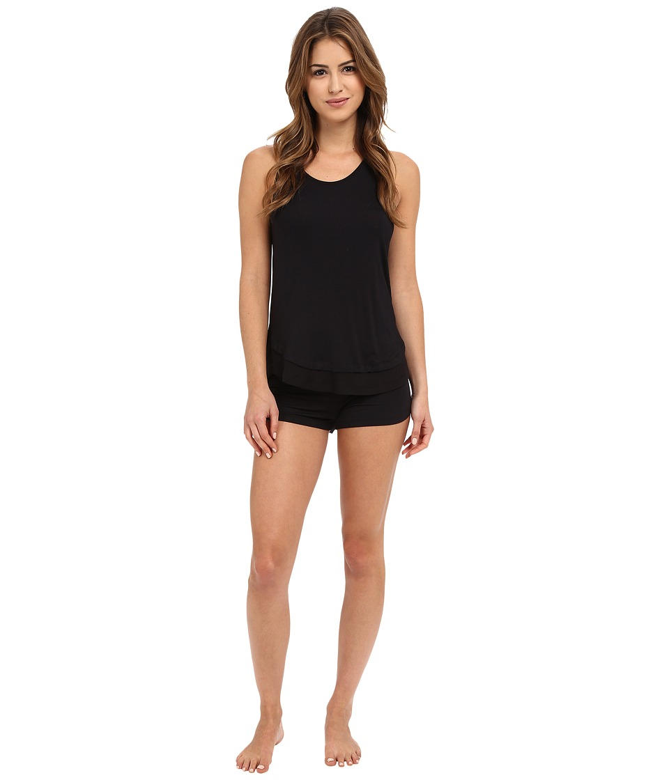 Josie - Ribbed PJ Shorts Set (Black) Women's Pajama Sets