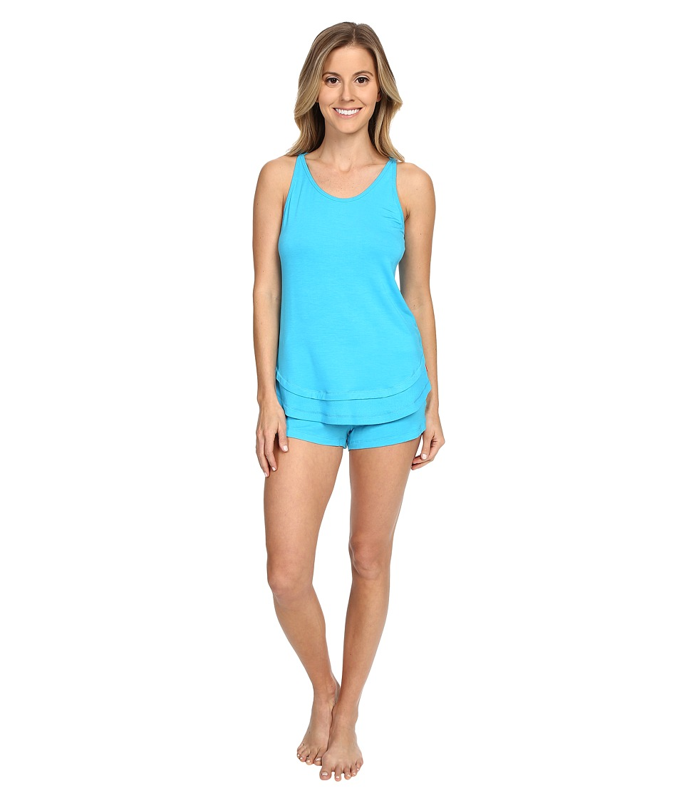 Josie - Ribbed PJ Shorts Set (Ocean Blue) Women's Pajama Sets