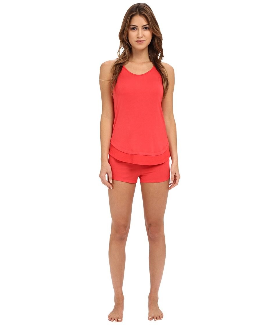 Josie - Ribbed PJ Shorts Set (Guava) Women's Pajama Sets