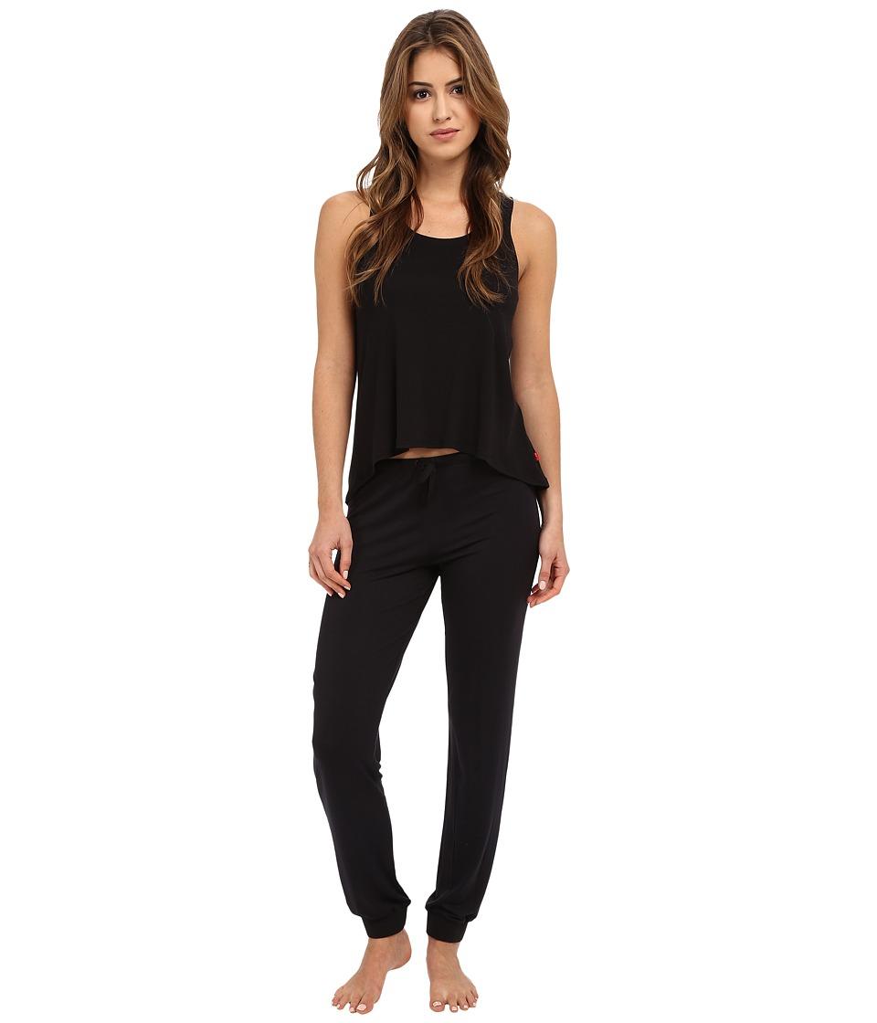 Josie - Ribbed PJ Set (Black) Women's Pajama Sets