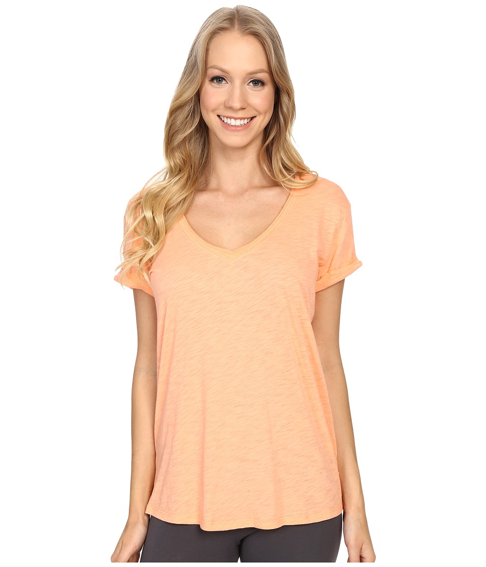 P.J. Salvage - Slub Jersey V-neck Tee (Melon) Women's Short Sleeve Pullover