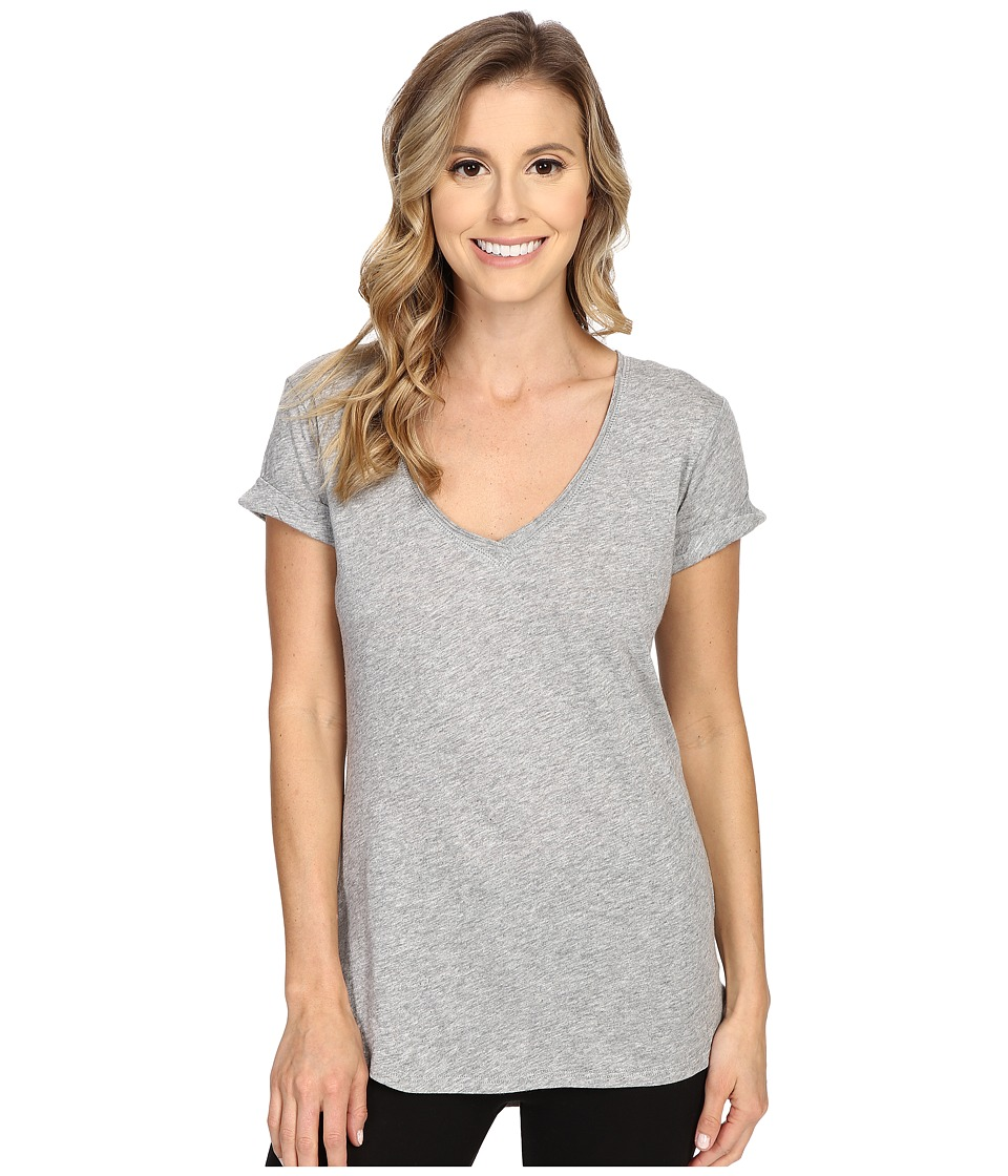 P.J. Salvage - Slub Jersey V-neck Tee (Heather Grey) Women's Short Sleeve Pullover