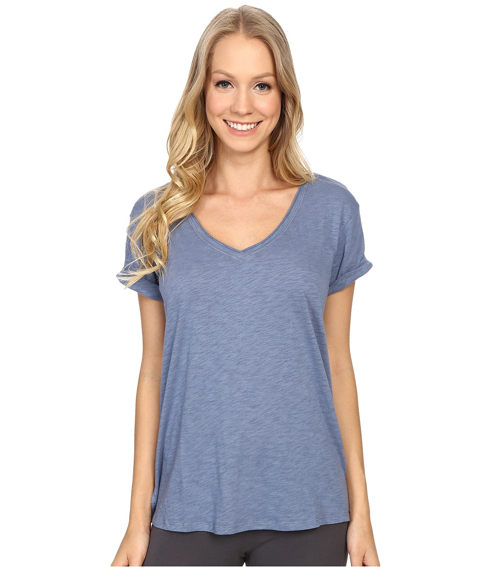 P.J. Salvage - Slub Jersey V-neck Tee (Denim) Women's Short Sleeve Pullover