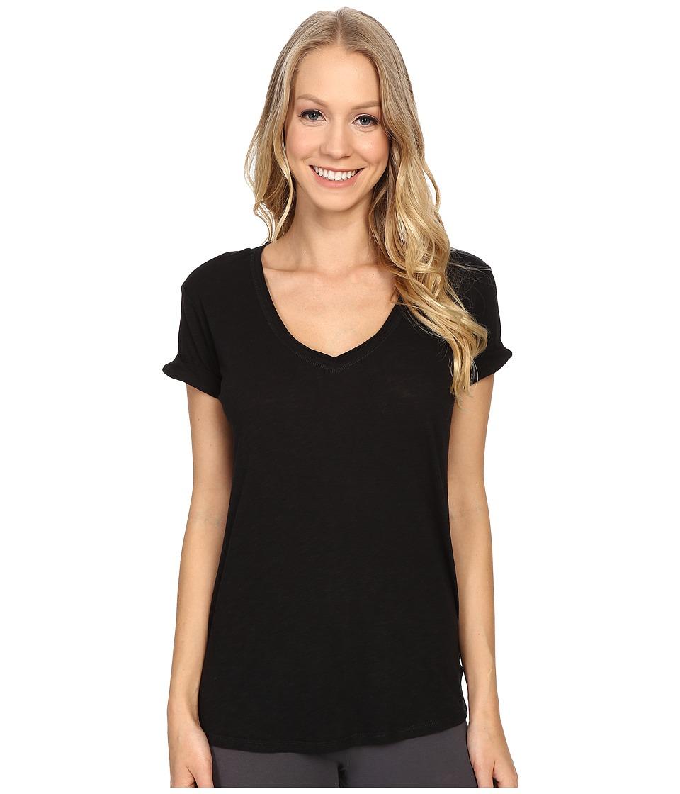P.J. Salvage - Slub Jersey V-neck Tee (Black) Women's Short Sleeve Pullover