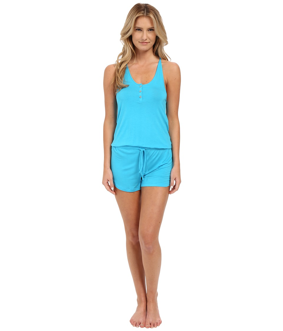 Josie - Tee Tank Romper (Ocean Blue) Women's Jumpsuit & Rompers One Piece