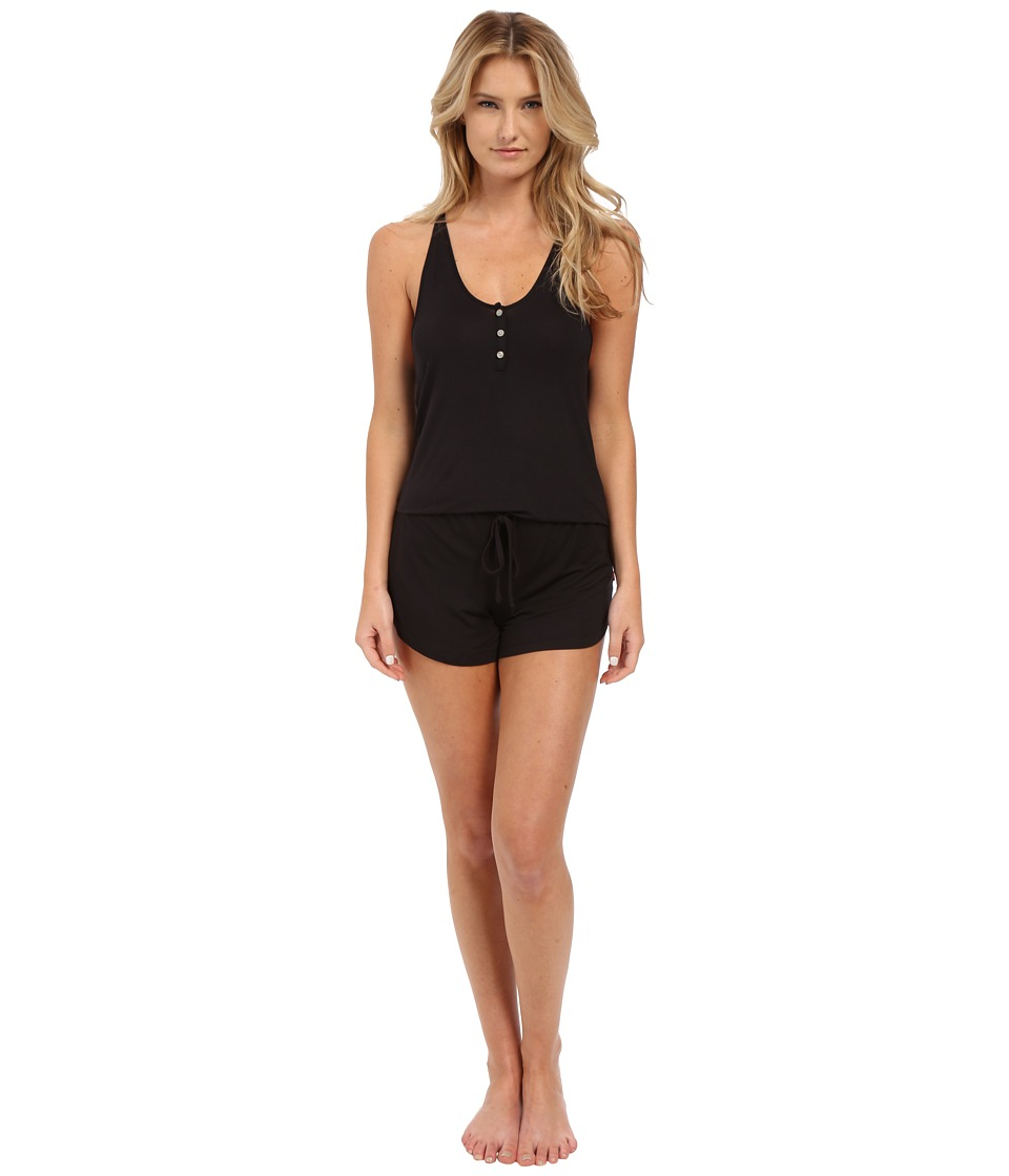 Josie - Tee Tank Romper (Black) Women's Jumpsuit & Rompers One Piece