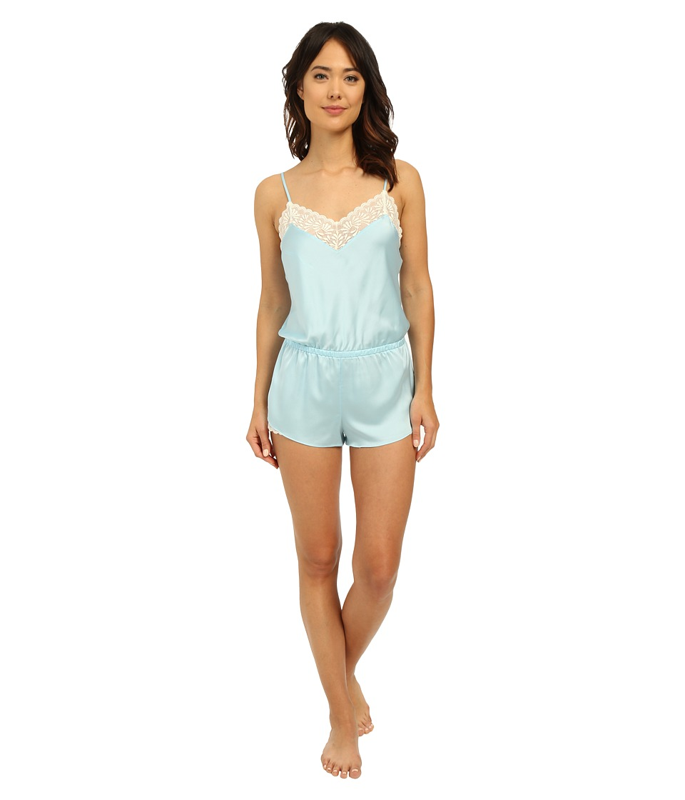 Josie - Coquette Romper (Heather Sky/Warm White Lace) Women's Jumpsuit & Rompers One Piece
