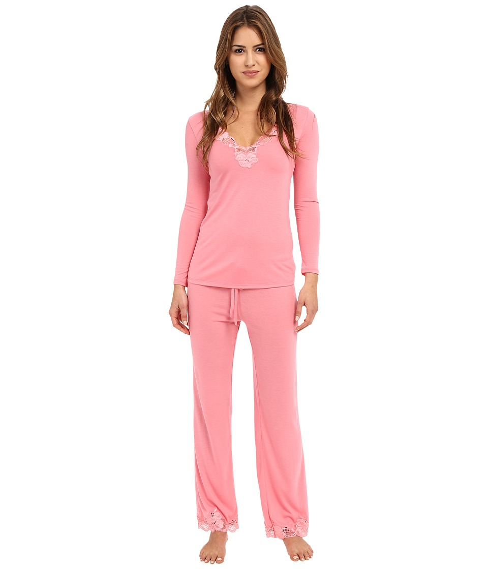 Natori - Zen Floral PJ Set (Pink Cantaloupe) Women's Pajama Sets