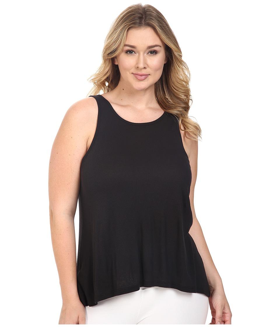 Yummie by Heather Thomson - Plus Size 2x1 Pima Rib Racer Tank Top (Black) Women's Sleeveless