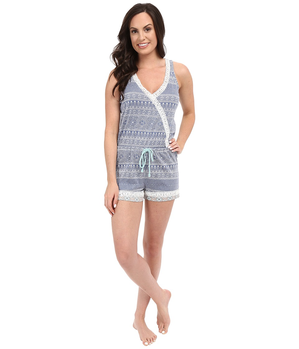 P.J. Salvage - Miss Matched Sleep Romper (Denim) Women's Jumpsuit & Rompers One Piece