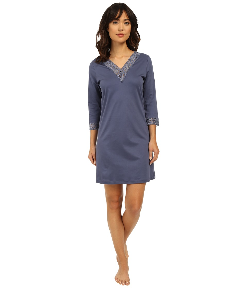 Hanro - Moments 3/4 Sleeve Big Shirt 7736 (Indigo) Women's Pajama