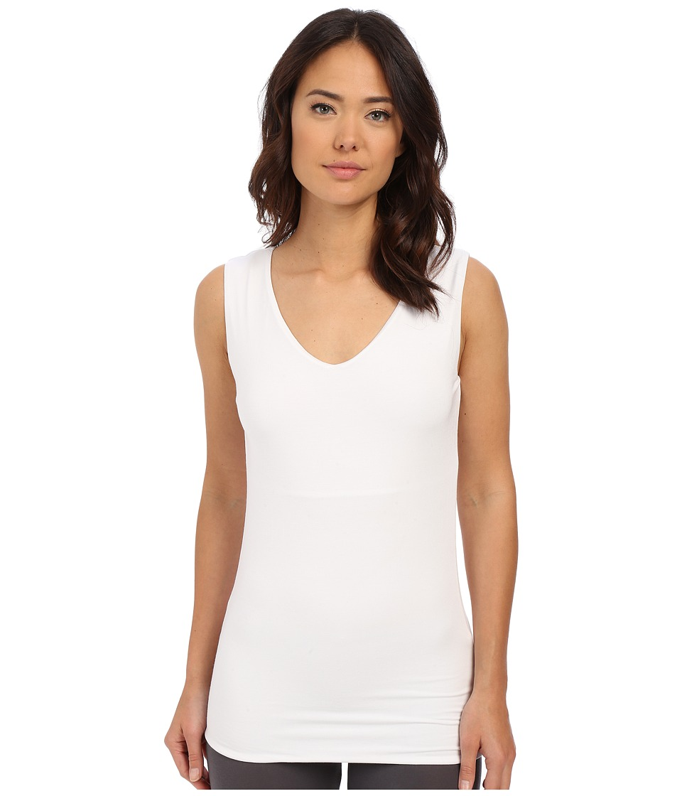 Lysse - V-Neck Hip Tank Top (White) Women's Sleeveless