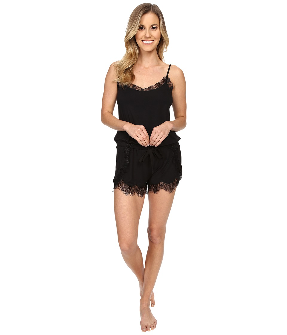 P.J. Salvage - Lace Trim Romper (Black) Women's Jumpsuit & Rompers One Piece