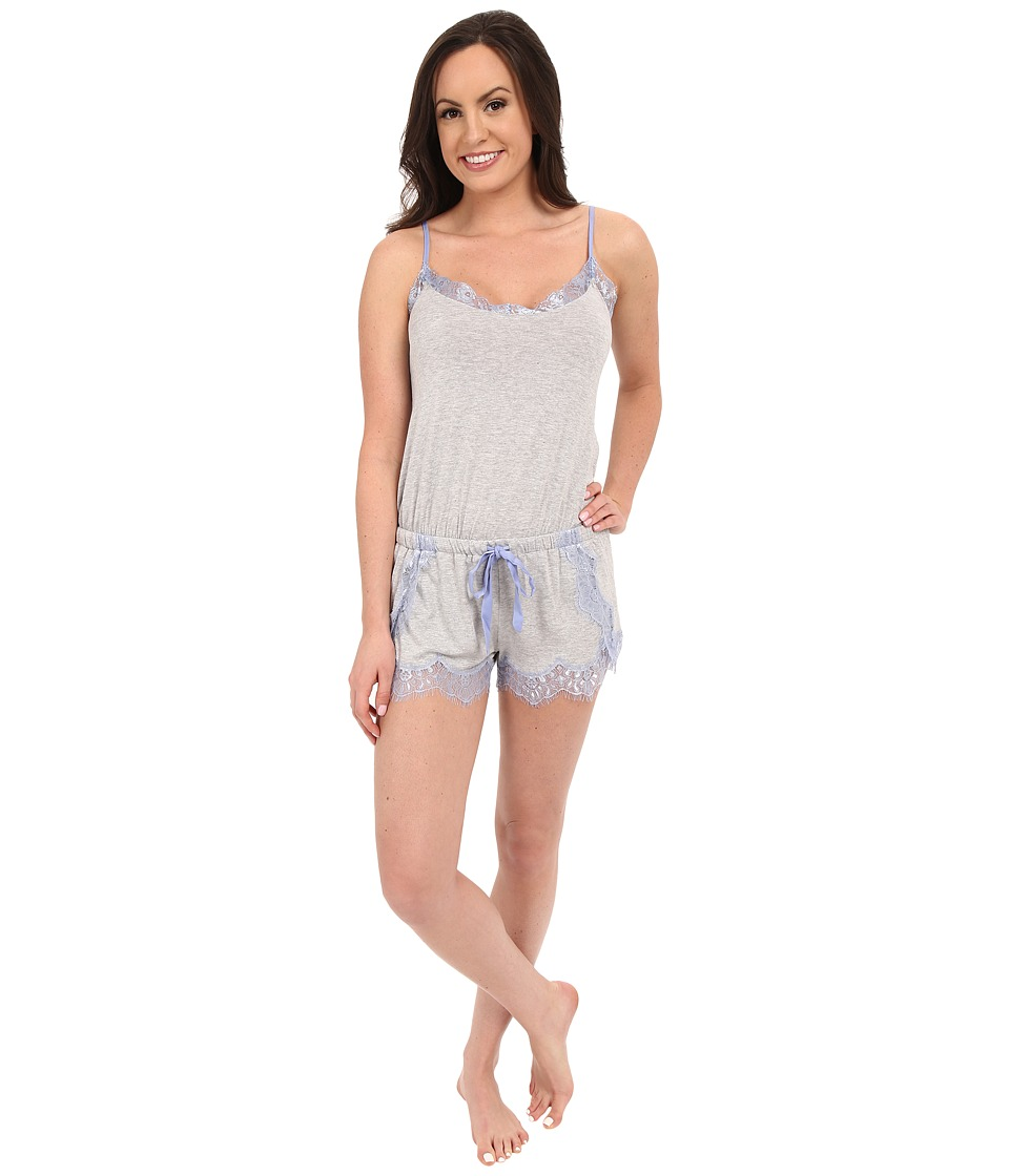 P.J. Salvage - Lace Trim Romper (Heather Grey) Women's Jumpsuit & Rompers One Piece