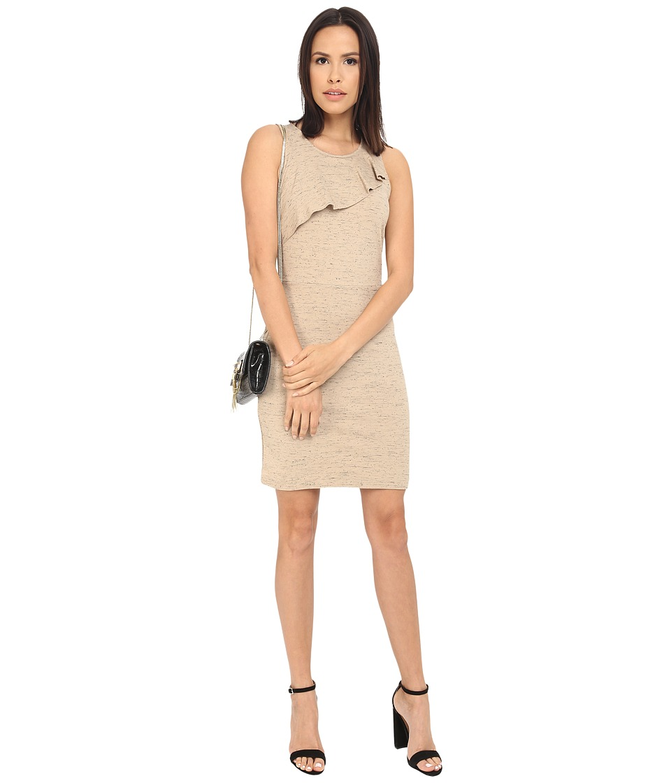 kensie Streaky Slub Ponte Dress KS2K7838 (Warm Beige Combo) Women