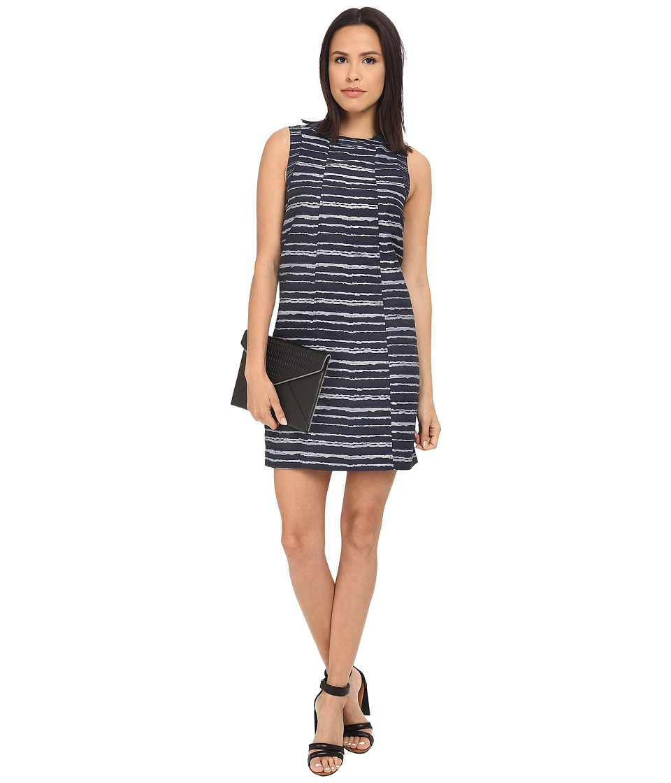 kensie Digital Lines Dress KS3K7855 (Midnight Sapphire Combo) Women