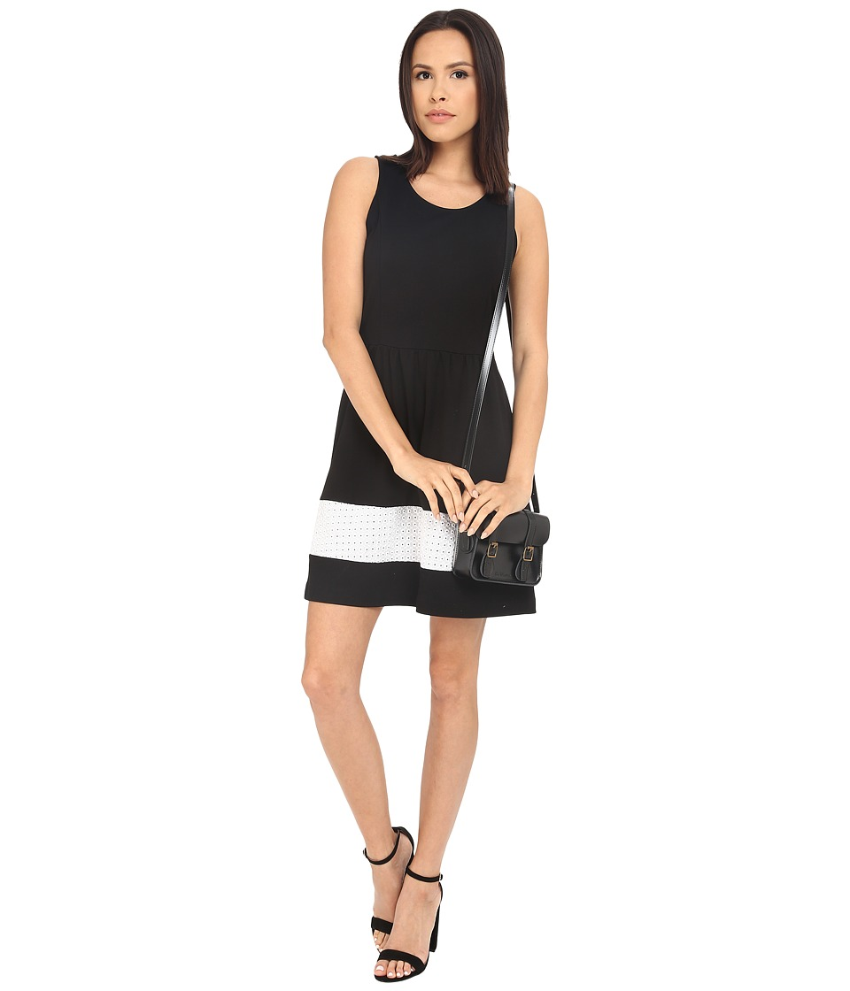 kensie Ponte Fit and Flare Dress KS3K7408 (Black Combo) Women