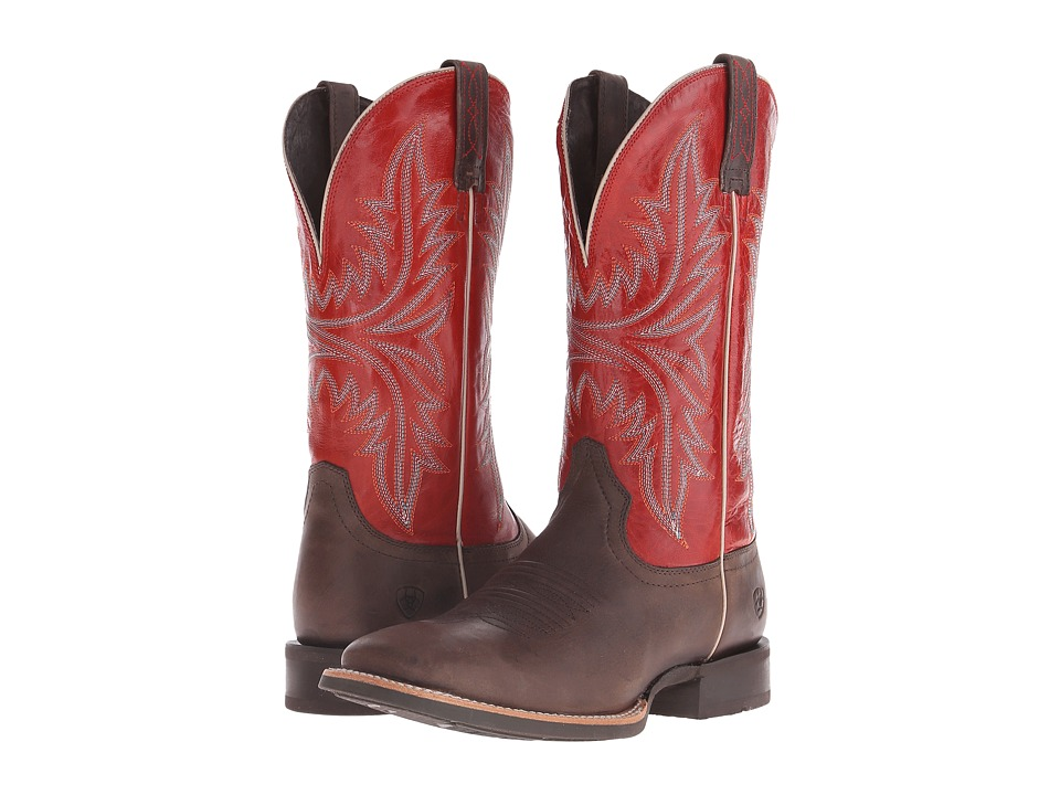 Ariat - Cowhand (Murky Brown/Scarlet) Cowboy Boots