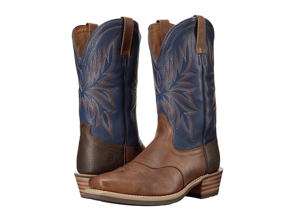 Ariat - Heritage Saddleback Narrow Square Toe (Copper Kettle/Navy) Cowboy Boots