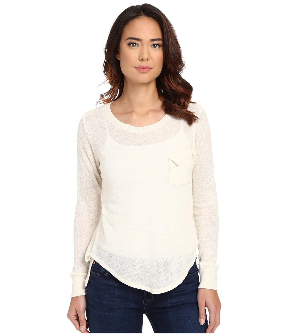 LNA - Long Sleeve Torn Pocket Tee (White) Women's Long Sleeve Pullover