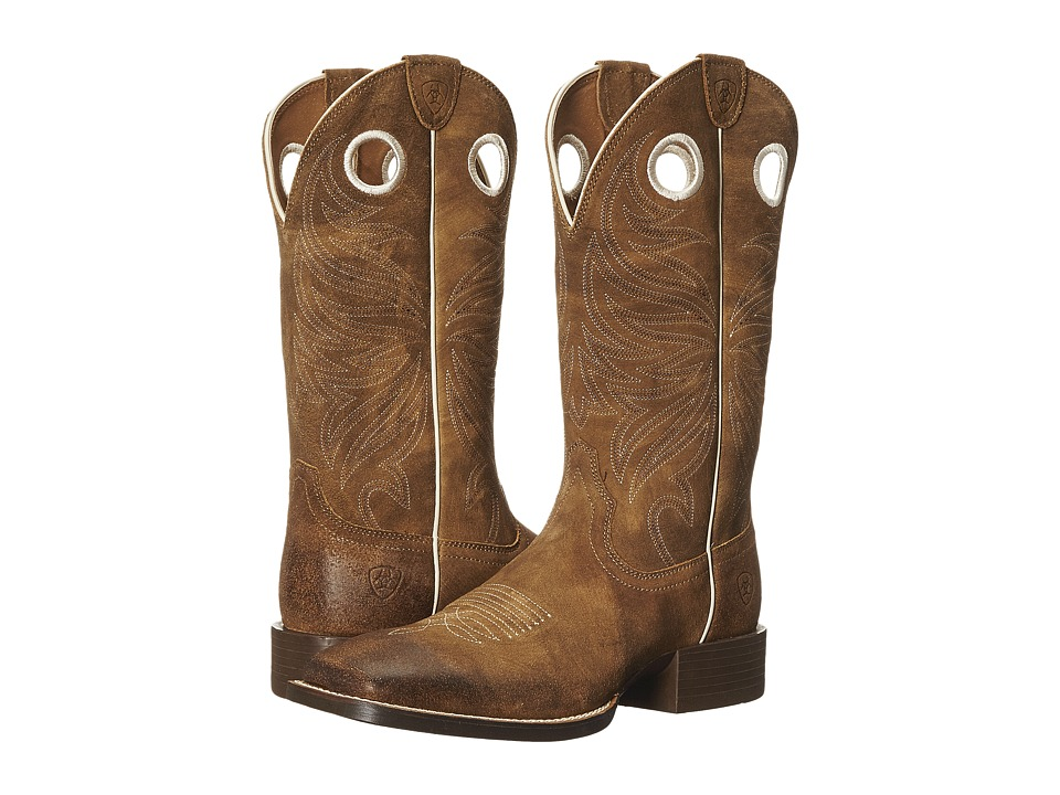 Ariat - Sport Rider Wide Square Toe (Antique Mocha Suede) Cowboy Boots