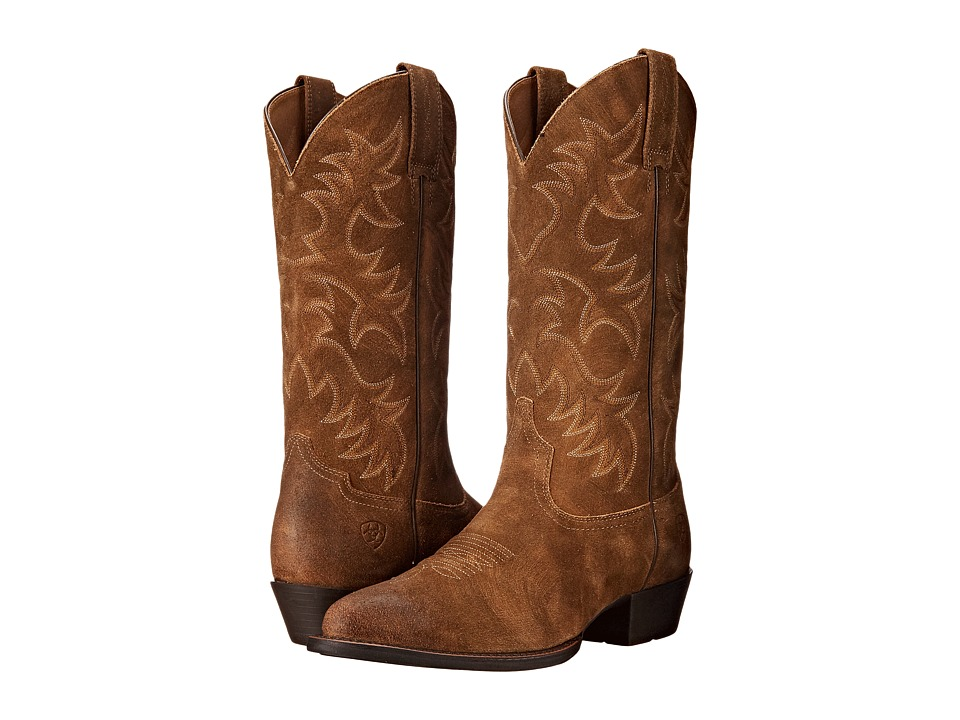 Ariat - Heritage Western R Toe (Antique Mocha Suede) Cowboy Boots