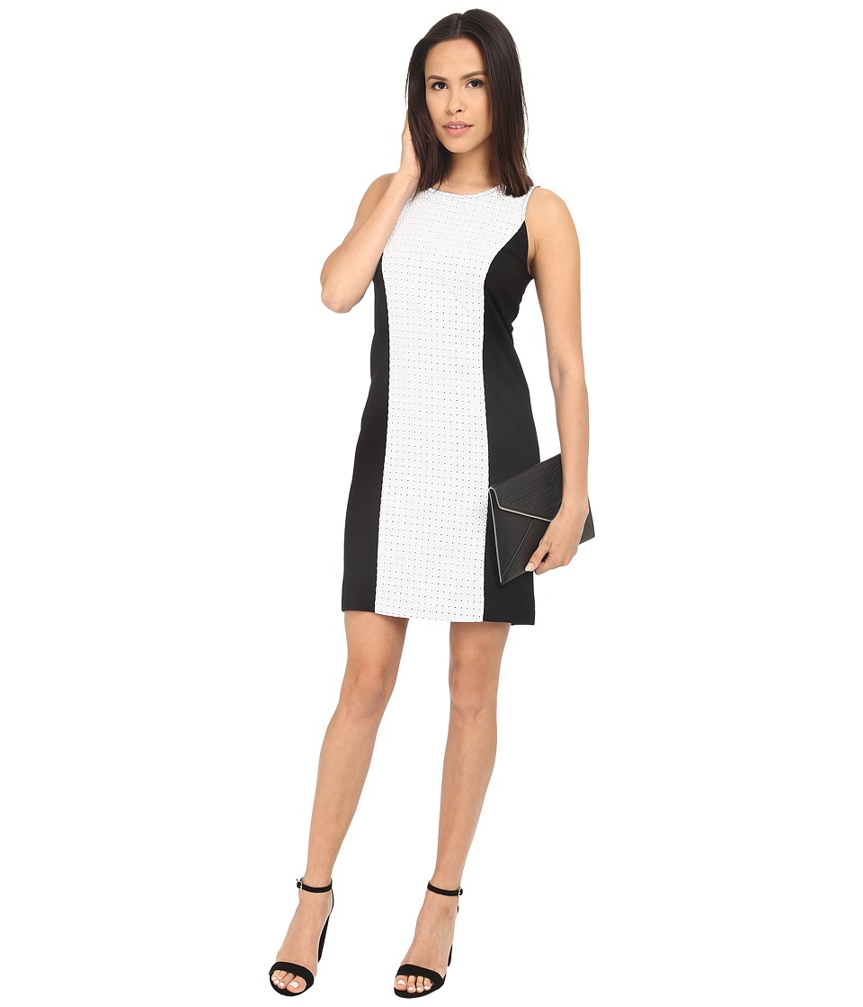 kensie Ponte Fitted Dress KS3K7410 (Black Combo) Women