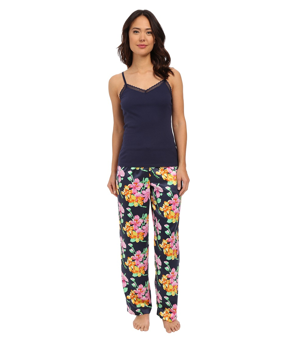 LAUREN Ralph Lauren - Knit Cami/Long Pants Pajama Set (Floral Navy Multi) Women's Pajama Sets