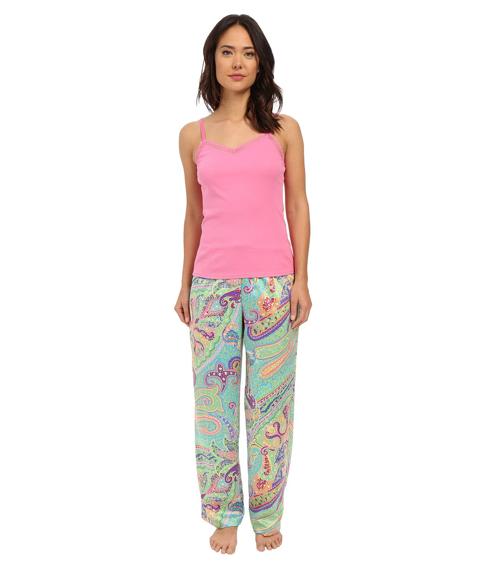 LAUREN Ralph Lauren - Knit Cami/Long Pants Pajama Set (Paisley Blue/Turquoise) Women's Pajama Sets