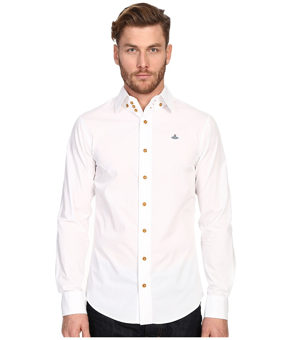 Vivienne Westwood - Stretch Classic Krall Shirt (White) Men's Long Sleeve Button Up