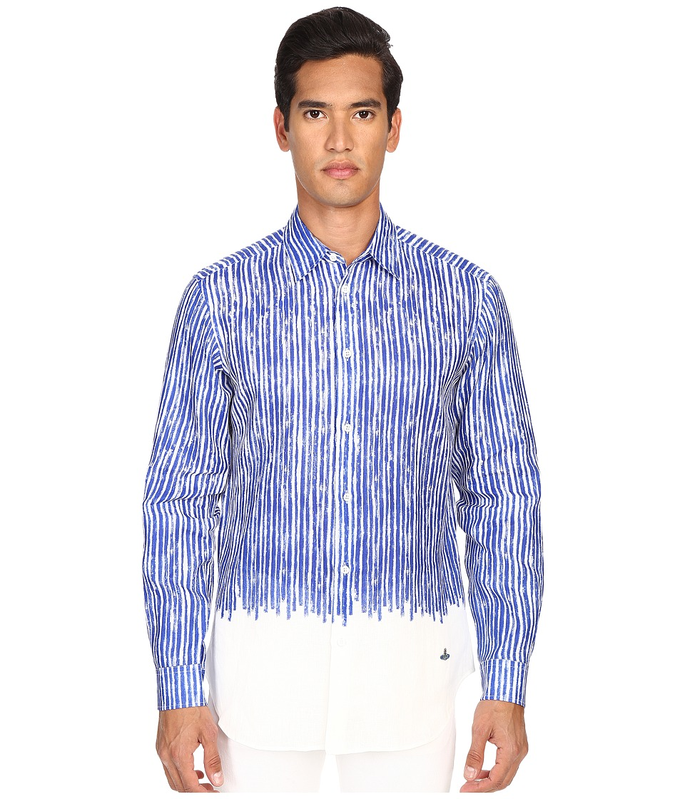 Vivienne Westwood - Classic Cut Away Masked Stripes Shirt (Blue Stripe) Men's Long Sleeve Button Up