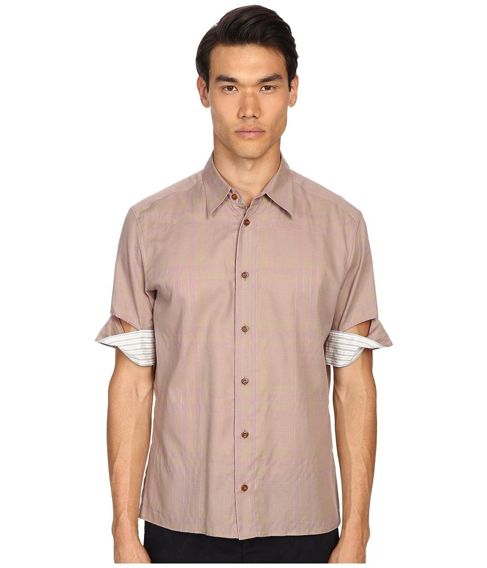 Vivienne Westwood - Tartan Twisted Short Sleeve Shirt (Khaki Tartan) Men's Short Sleeve Button Up