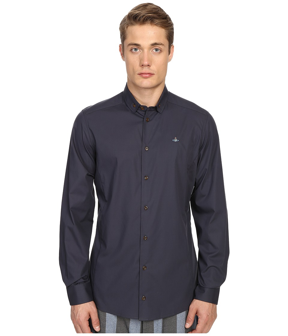 Vivienne Westwood - Stretch Poplin Polo Stretch Shirt (Grey) Men's Long Sleeve Button Up
