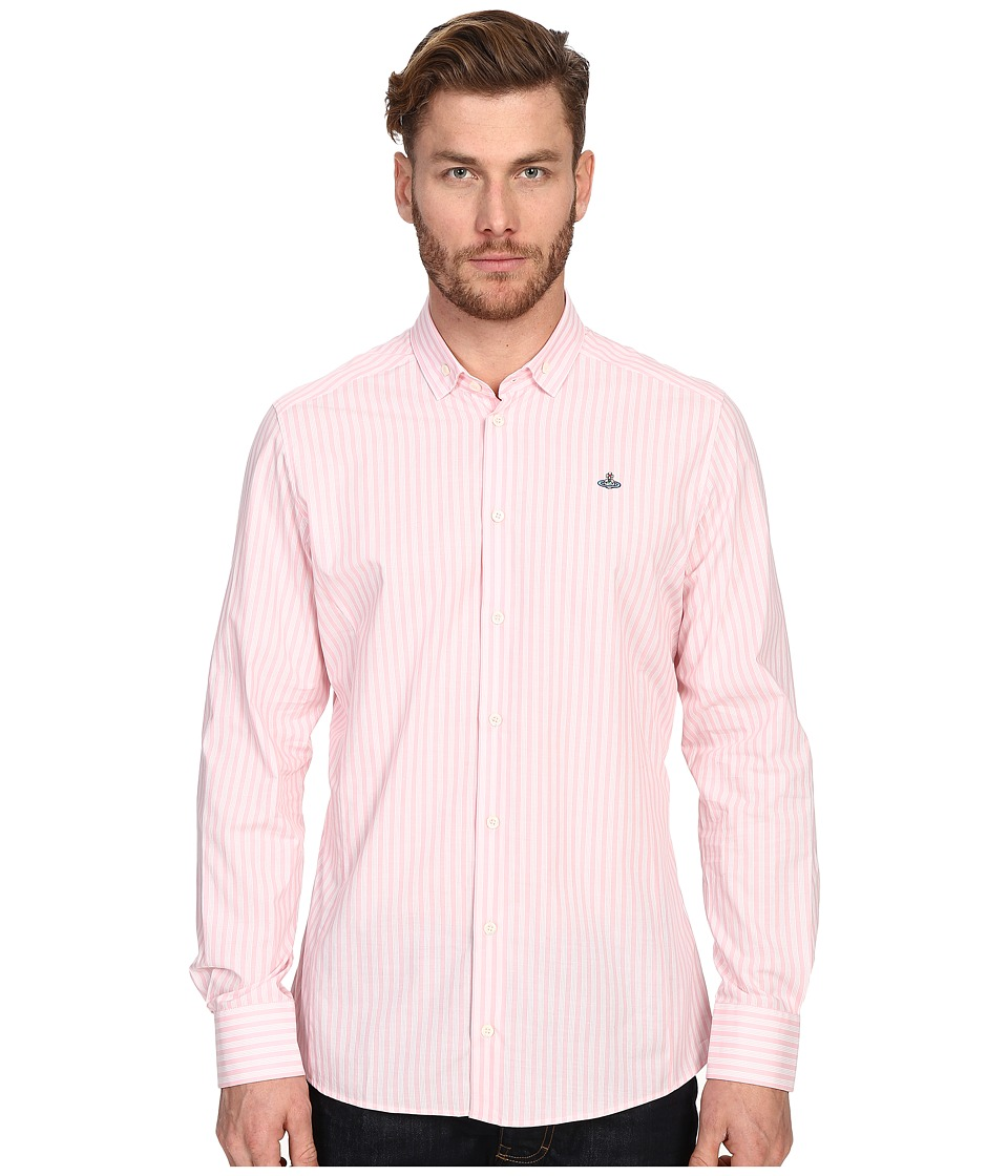 Vivienne Westwood - Pyjama Polo Stretch Shirting (Pink Stripe) Men's Long Sleeve Button Up