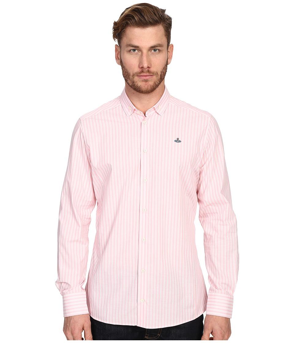 Vivienne Westwood - Pyjama Polo Stretch Shirting (Pink Stripe) Men's Long Sleeve Button Up