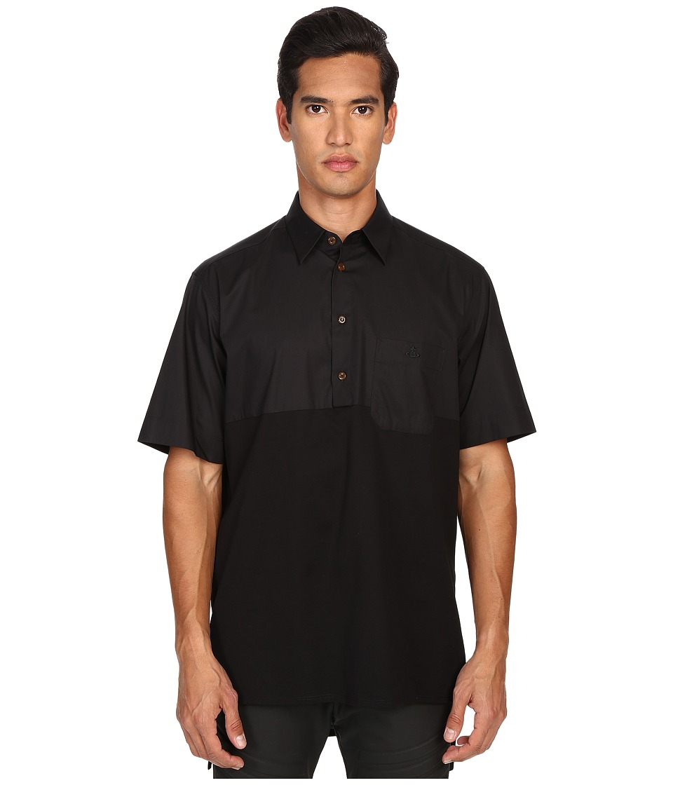 Vivienne Westwood - Stretch Poplin Box Popover Shirt (Black) Men's Short Sleeve Button Up