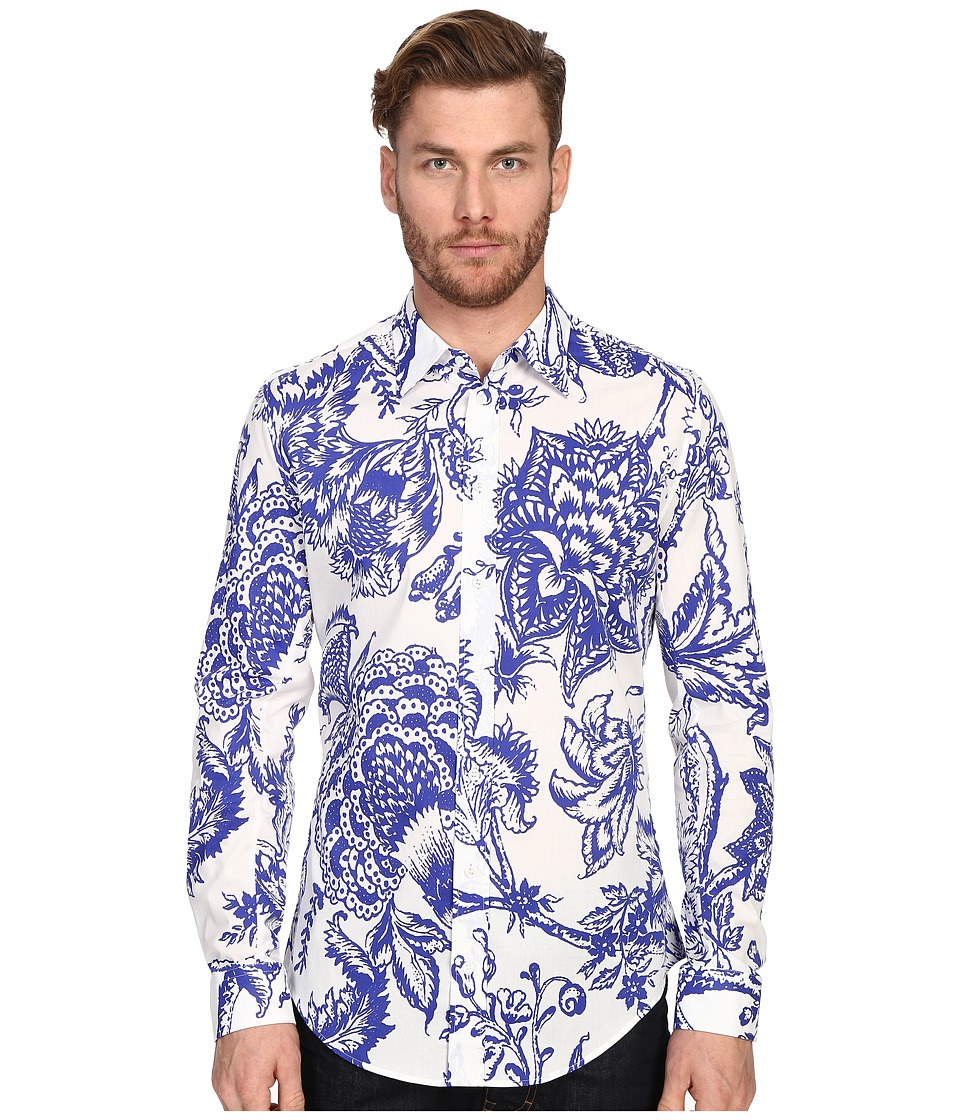 Vivienne Westwood - Stretch Printed Poplin Classic Stretch Shirt (Blue Duvet) Men's Long Sleeve Button Up