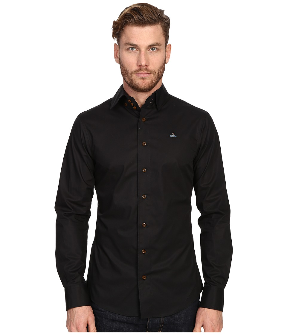 Vivienne Westwood - Stretch Classic Krall Shirt (Black) Men's Long Sleeve Button Up