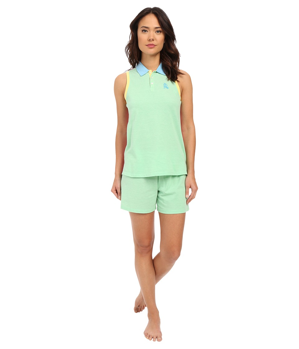LAUREN Ralph Lauren - Color Block V-Neck Henley Boxer Pajama Set (Green) Women