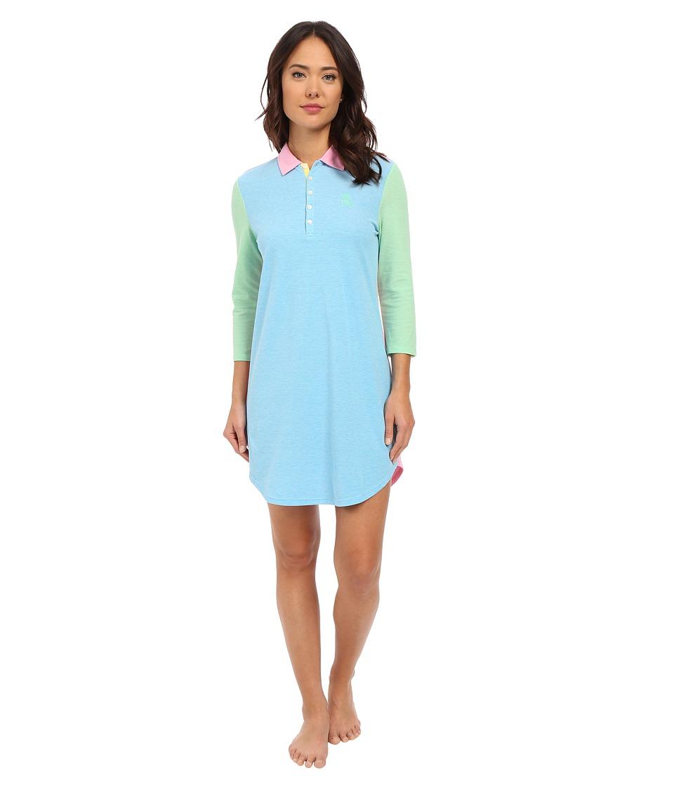 LAUREN Ralph Lauren - Color Block Short Lounger (Turquoise) Women's Pajama