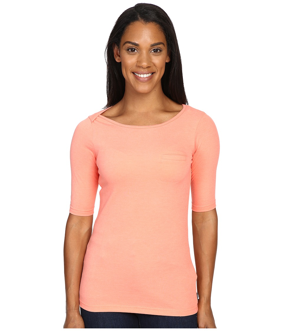 The North Face - Long Sleeve Flashdry Pocket Tee (Feather Orange Heather) Women's Long Sleeve Pullover