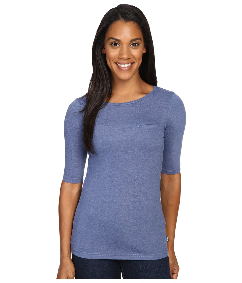 The North Face - Long Sleeve Flashdry Pocket Tee (Coastal Fjord Blue Heather) Women's Long Sleeve Pullover