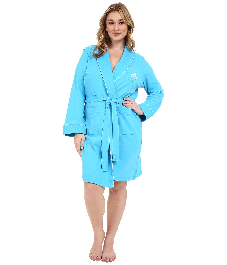 LAUREN Ralph Lauren - Plus Size Essentials Quilted Collar and Cuff Robe (Turquoise) Women's Robe