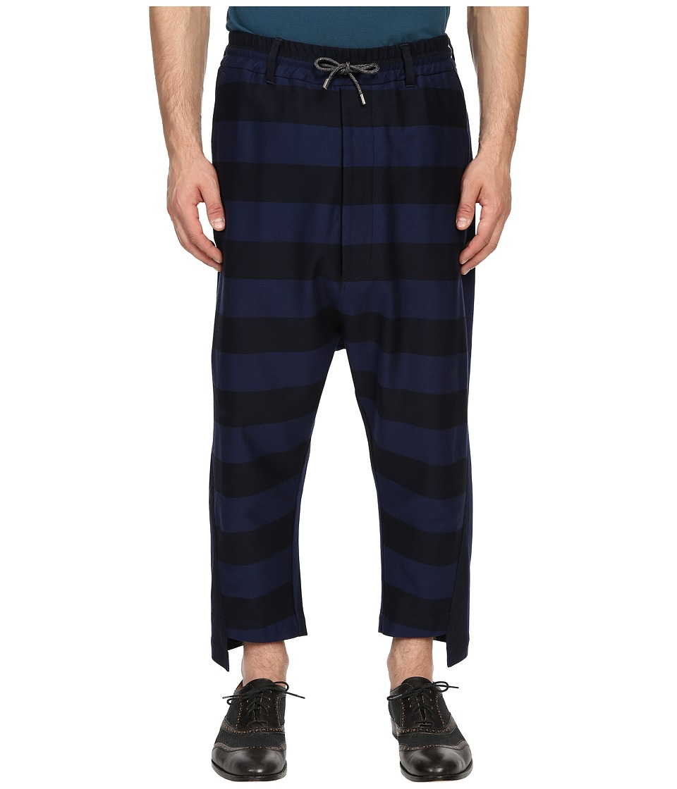 Vivienne Westwood - Gipsy Stripes Twist Seam Samurai Pants (Navy Stripe) Men's Casual Pants