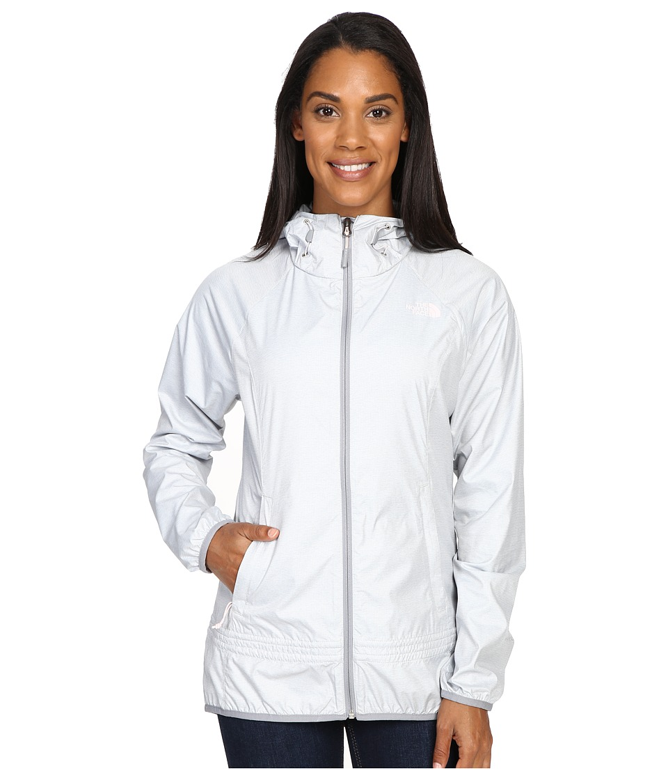 The North Face - Fastpack Wind Jacket (TNF Light Grey Heather/Mid Grey/Purdy Pink) Women's Coat